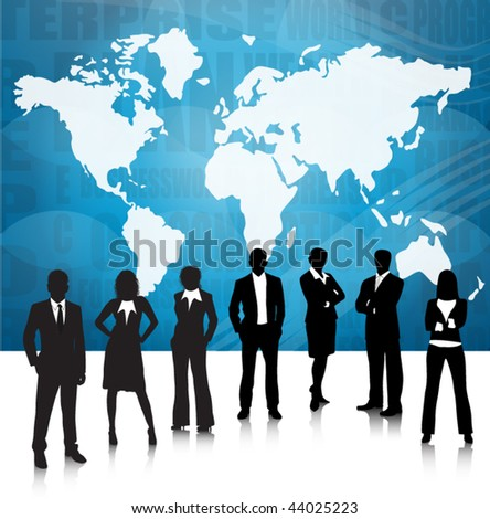 Business people and world map - stock vector