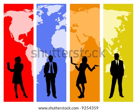 business people and world map vector design. trace source: http://www.lib.utexas.edu/maps/world_maps/world_pol02.jpg copyright state.: http://www.lib.utexas.edu/maps/faq.html#3.html - stock vector
