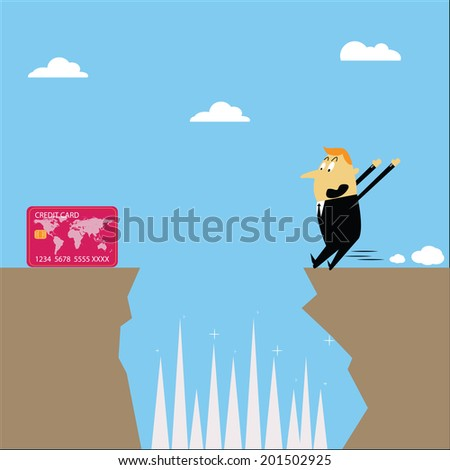 Business people are jumping cliffs risky credit card. - stock vector