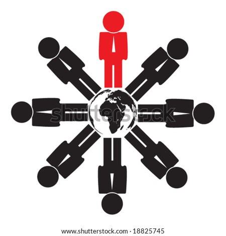 business people around the earth in vector - stock vector