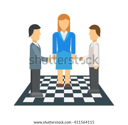 Business people at the negotiating table in office, professional teamwork vector. Negotiation corporate young business people and teamwork negotiation. Business people discussion success negotiation. - stock vector