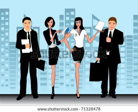 business people at work in the office - stock vector