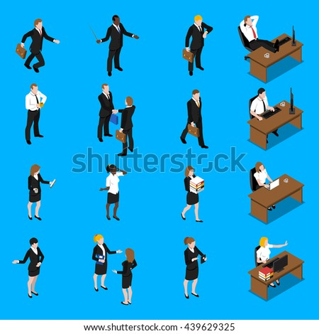 Business people at work isometric icons collection with office manager businessman and secretary abstract vector isolated illustration - stock vector