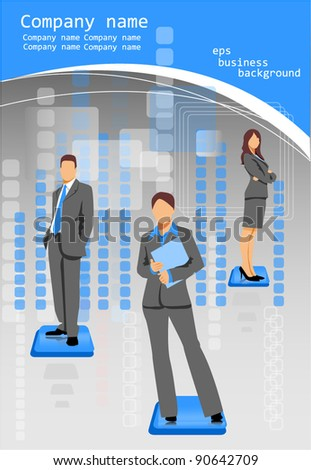 business people background blue - stock vector