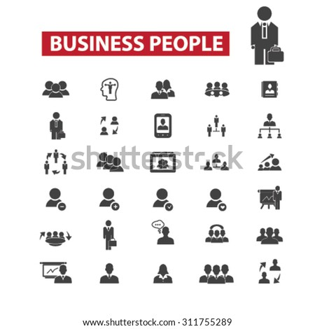 Business people black isolated concept icons, illustrations set. Flat design vector for web, infographics, apps, mobile phone servces - stock vector