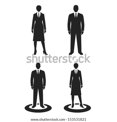 business people black web icon. vector illustration - stock vector