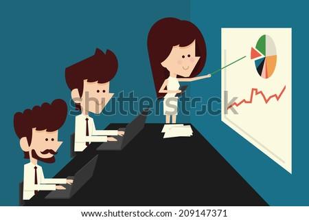 business people briefing - meeting flat cartoon - stock vector