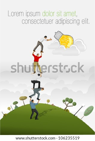Business people carrying each other to reach a idea light bulb. - stock vector