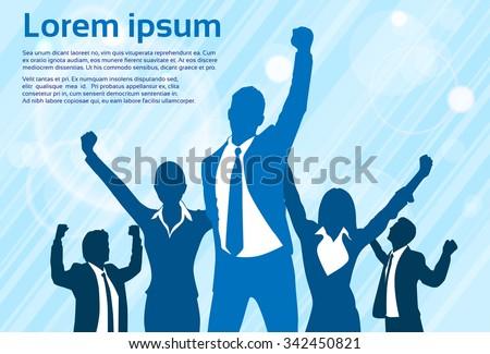 Business People Celebration Silhouette Hands Up, Businessmen Concept Winner Success Vector Illustration - stock vector