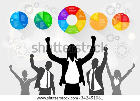 Business People Celebration Silhouette Hands Up, Businesswoman Concept Winner Success Social Media Marketing Target Group Audience Vector Illustration - stock vector
