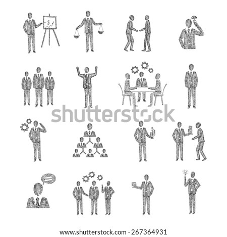 Business people characters team meeting partnership corporate hierarchy icons sketch set isolated vector illustration