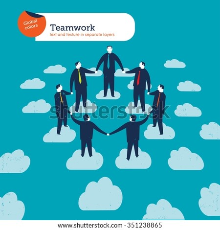 Business people circle on clouds. Vector illustration Eps10 file. Global colors. Text and Texture in separate layers. - stock vector