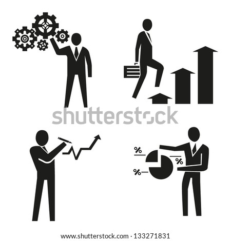 business people concept, business management, vector - stock vector
