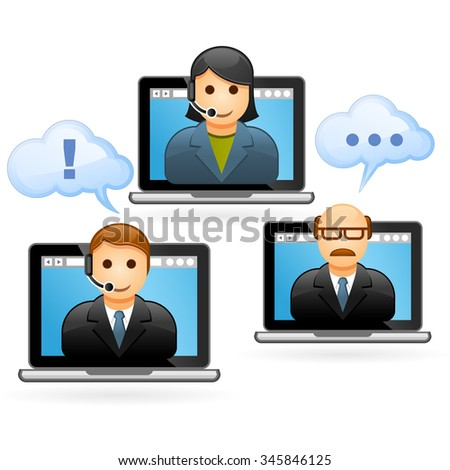 Business people conference call - video conference - stock vector