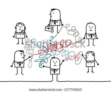 business people connected by tangled strings - stock vector