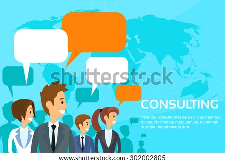 Business People Consulting Group Talking Discussing Chat Communication Social Network Flat Vector Illustration - stock vector