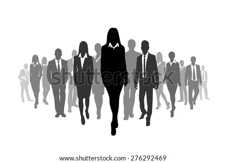 Business People Crowd Walk Black Silhouette Concept Businesspeople Group Step Forward over  Vector Illustration