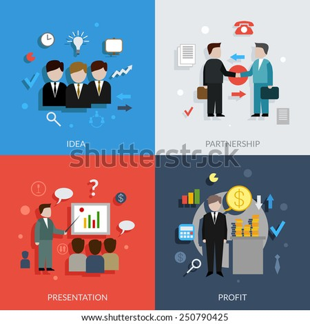 Business people design concept set with idea partnership presentation profit flat icons isolated vector illustration - stock vector