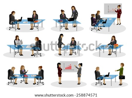 Business People, Different Situation Set - Isolated On White Background - Vector Illustration, Graphic Design Editable For Your Design - stock vector