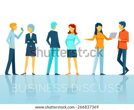 Business people discussing. Teamwork and person, conversation and talk, vector illustration - stock vector
