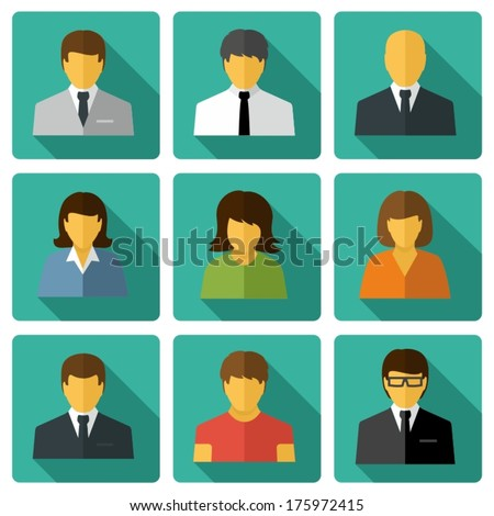 Business people Flat icons - stock vector