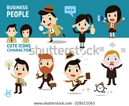 business people full bodyisolated on white and blue background. - stock vector