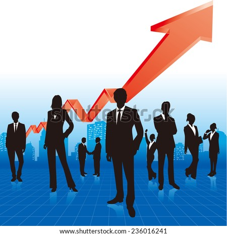 business people & graph Vector - stock vector