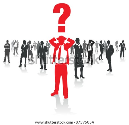 business people group and a confused man - stock vector
