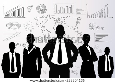 Business people group black silhouette concept businesspeople team graph finance chart diagram background - stock vector
