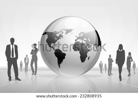 Business people group black silhouette concept businesspeople team over earth planet world map background - stock vector