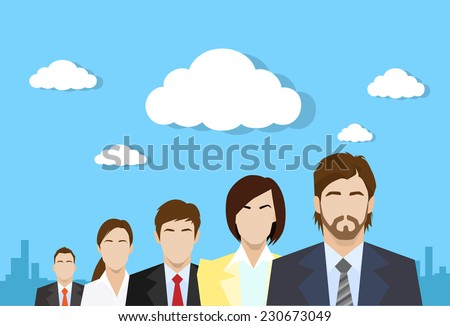 business people group color profile human resources team flat icon design vector illustration over blue background with clouds - stock vector