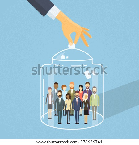 Business People Group Cover Under Glass Box, Business people Team Captured Inside Together Flat Vector Illustration - stock vector