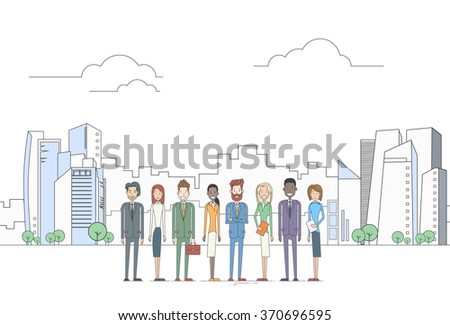 Business People Group Executives Team Coworkers Over Big City View Vector Illustration - stock vector