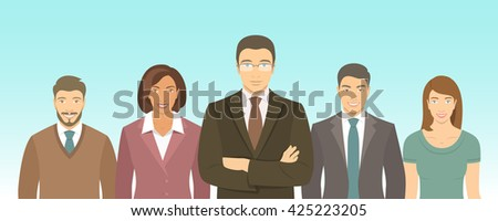 Business people group flat vector illustration. Successful team of young ambitious men and women in suits. Office staff employment concept. Leader with his team. New start up horizontal banner - stock vector