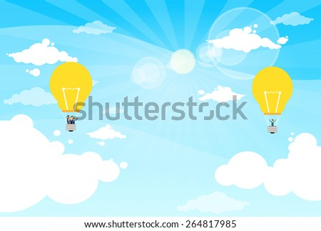 Business People Group Fly Air Balloon Light Bulb Idea Concept Vector Illustration - stock vector