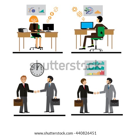 Business people group human resources flat vector illustration. icons with flat design elements of customer service, client support, success business management, teamwork cooperation process. - stock vector