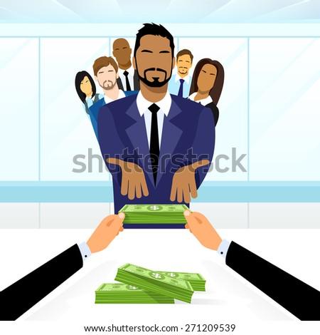 Business People Group Leader Get Salary Dollar Stack Money Boss Businessmen Diverse Team Vector Illustration - stock vector