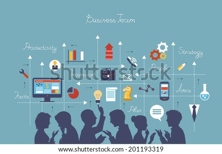 Business people group over conceptual. Silhouettes of people on a background of business icons. Mind Map Team. - stock vector