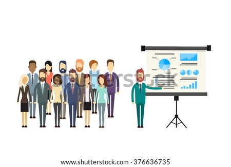 Business People Group Presentation Flip Chart Finance, Business people Team Training Conference Meeting Flat Vector Illustration - stock vector