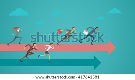 Business People Group Run Team Leader On Arrow Competition Concept Flat Vector Illustration - stock vector