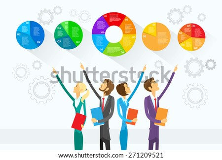 Business People Group Showing Pie Diagram Infographic Vector Illustration - stock vector
