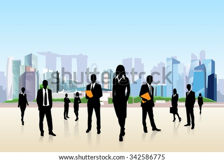 Business People Group Silhouette City Street Landscape Office Buildings Vector Illustration - stock vector