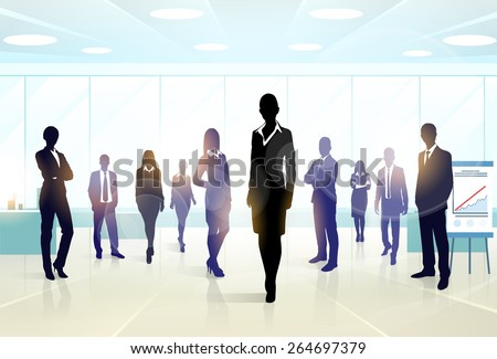 Business people group silhouette executives team in office vector illustration - stock vector