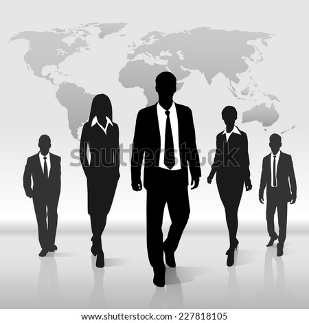 Business people group walk black silhouette concept businesspeople team step forward over world map background - stock vector