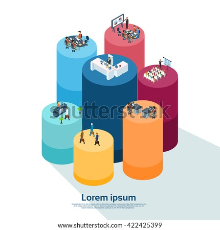 Business People Group Working Cylinder Diagram Financial Graph Businesspeople 3d Isometric Vector Illustration - stock vector