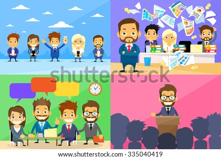 Business People Group Working Day Communication Conference Meeting Speech Chat Conflict Problem Concept Set Flat Vector Illustration - stock vector
