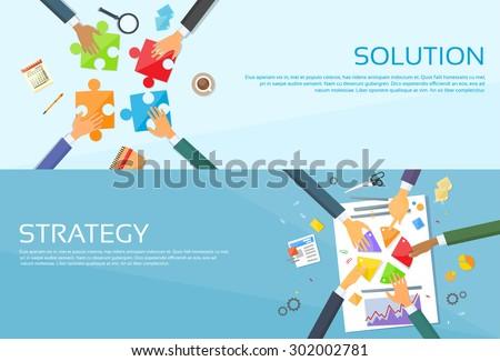 Business People Hands Making Puzzle Desk, Team Work Pie Diagram, Businessmen Finance Document Web Banner Set Flat Vector Illustration - stock vector
