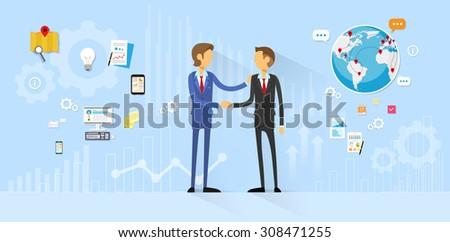 Business People Handshake, Businessmen Hand Shake Flat Icon Vector Illustration - stock vector