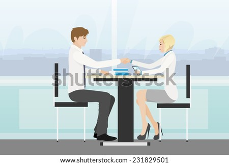 Business people handshake meeting signing agreement, businessman and businesswoman hand shake sitting at desk work vector illustration - stock vector