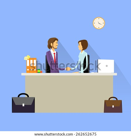 Business people handshake meeting signing agreement, businessman and businesswoman hand shake sitting at desk work flat vector illustration - stock vector